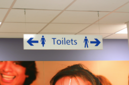 Suspended Ceiling Signs - NHS - Toilets - Hardy Signs Ltd - 2019