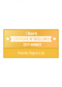 2019 Certificate of Excellence - Bark - Hardy Signs Ltd